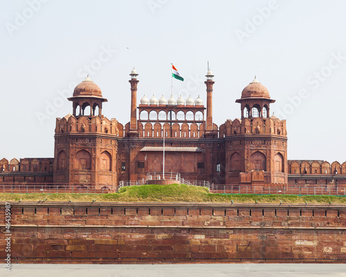 Fortification Architectural detail of Lal Qila - Red Fort in Delhi, India
