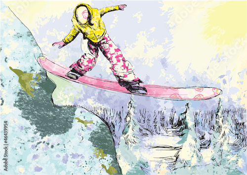 snowboarder - hand drawing