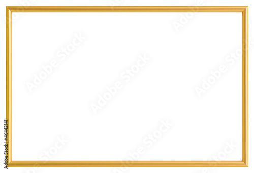 Fotografía  Golden metal photo frame, isolated on white (with clipping path)