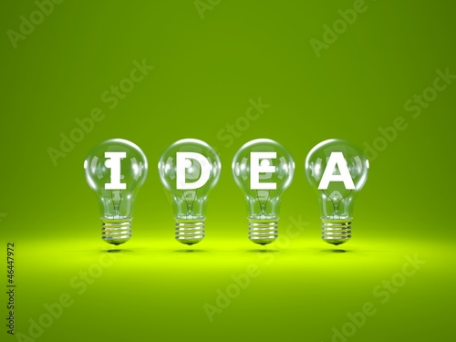 word idea inside light bulbs on green background buy this stock