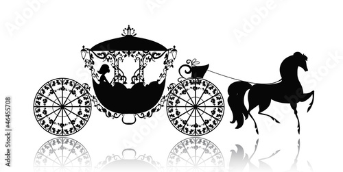Leinwand Poster vintage silhouette of a horse carriage