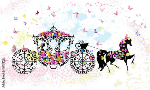 Garden Poster Floral woman vintage floral carriage