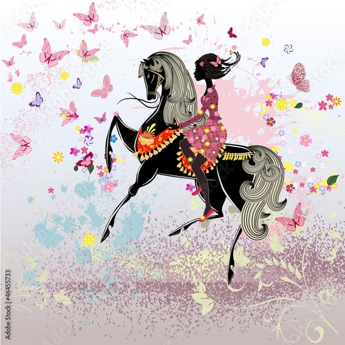 Foto op Canvas Bloemen vrouw Beautiful Girl riding a horse