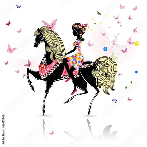 Fotobehang Bloemen vrouw Beautiful Girl riding a horse