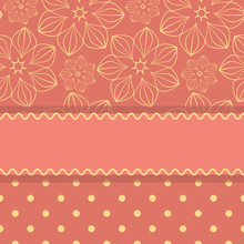Pink Card Template With Stripe And Pattern