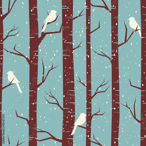 Tuinposter Vogels in het bos Winter Forest Seamless Pattern