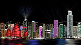 vector illustration of Hong Kong by night - 46475353