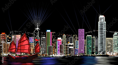 Photo  vector illustration of Hong Kong by night