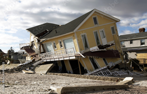Fotografie, Obraz  Hurricane Sandy destruction