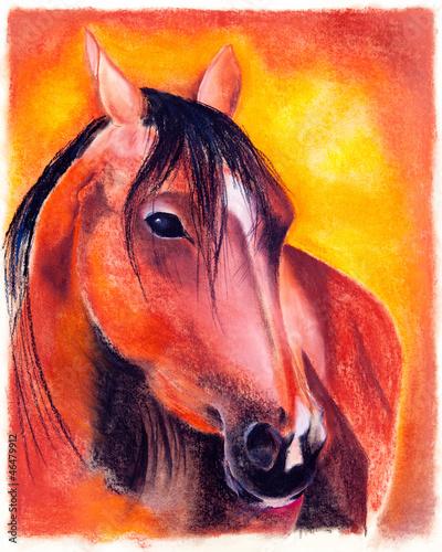 Obraz w ramie Pastell - Pferd
