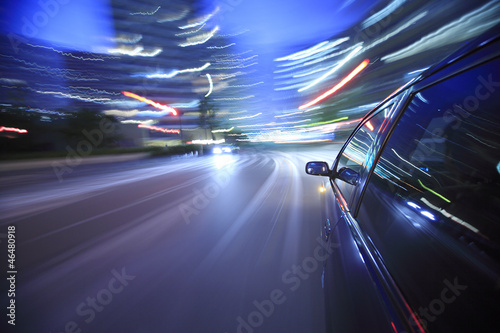 Fototapeta Driving in the sunset city. obraz na płótnie