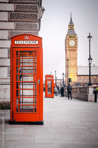 Papiers peints Londres red phone boxes