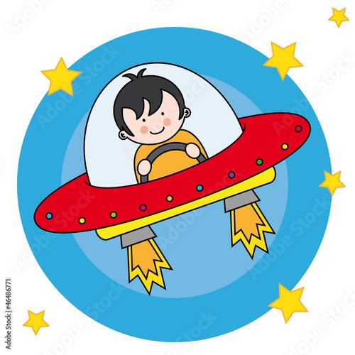 Foto op Canvas Kosmos Niño volando en una nave espacial