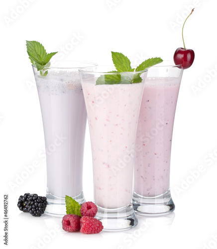 Foto op Plexiglas Milkshake Blackberry, raspberry and cherry milk smoothie with mint