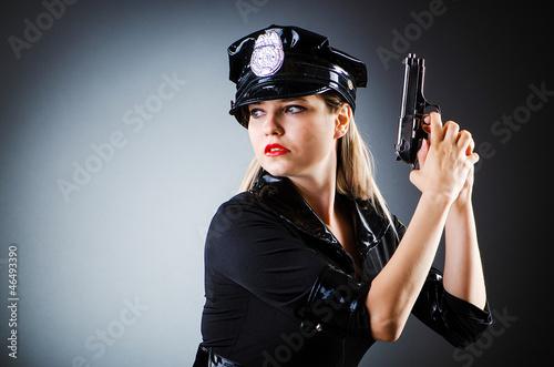 Obraz na plátně Attractive police office in dark room