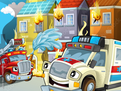 Recess Fitting Cars The ambulance action - illustration for the children