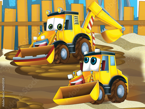 Recess Fitting Cars Father and son excavators - illustration for the children