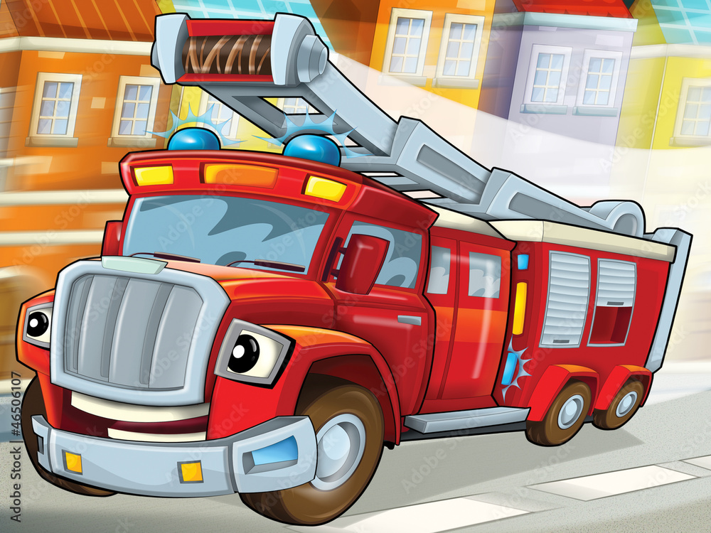 Fototapety, obrazy: The fire truck to the rescue -illustration for the children