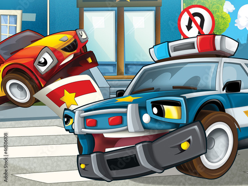 Poster Cars Police officer giving ticket - illustration for the children