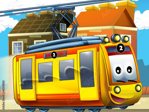 Recess Fitting Cars Happy tram in the city - illustration for the children