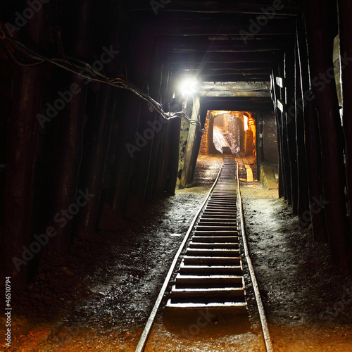 Mine railway in undergroud.