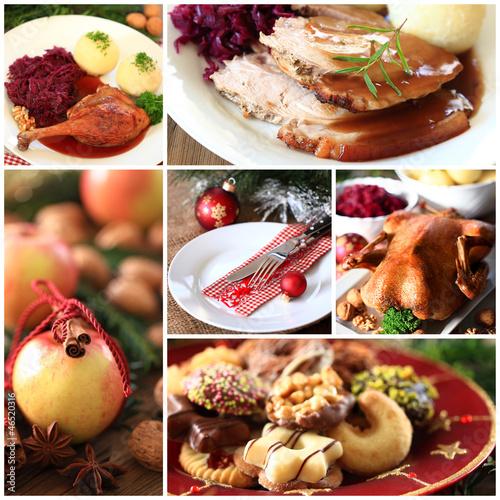Fotografie, Obraz  Collage weihnachtliches Essen