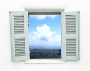 Fototapeta window with mountain and sky view
