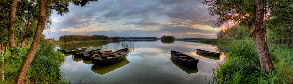 Fototapeta Boats and lake