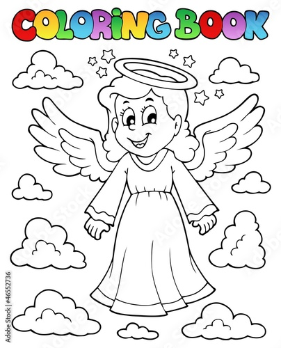 Spoed Foto op Canvas Doe het zelf Coloring book image with angel 1