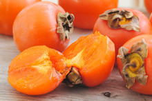 Close Up Fuyu Persimmons Fruit...