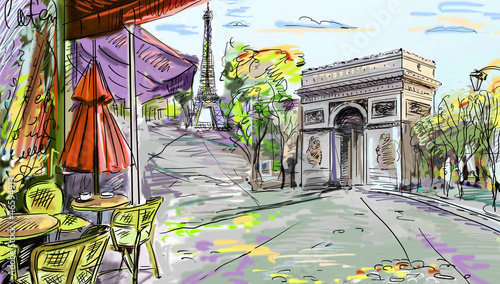 Foto op Canvas Illustratie Parijs Paris street - illustration