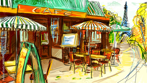 Deurstickers Drawn Street cafe Paris street - illustration
