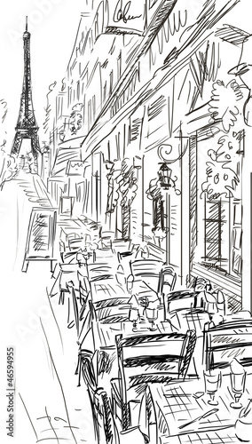 Photo sur Aluminium Illustration Paris Paris street - illustration