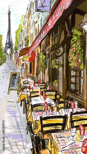 Tuinposter Illustratie Parijs Paris street - illustration