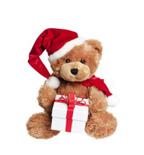 Cute Toy Bear With Christmas Gift On White
