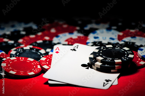Pair of aces and poker chips плакат