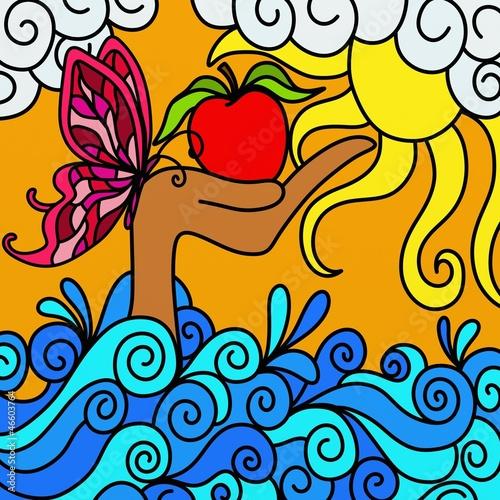 czerwone-jablko-wylaniajace-sie-z-morza-kolorowa-ilustracja
