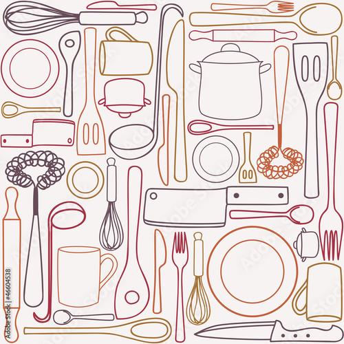 Fototapeta do kuchni Kitchen utensils - seamless pattern