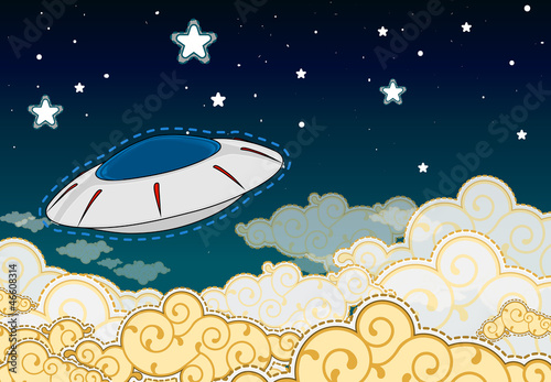 Foto op Canvas Kosmos Cartoon style UFO - flying saucer in the cloudy sky