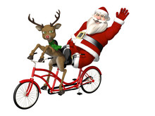 Santa And Reindeer - Bicycle B...
