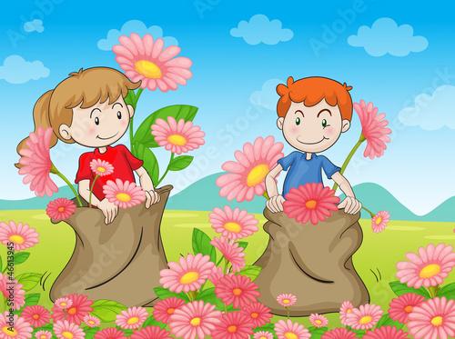 Spoed Foto op Canvas Vogels, bijen kids and flowers