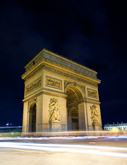 Fototapeta na wymiar Arch of Triumph at night, Paris, France