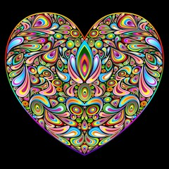 Love Heart Psychedelic Art Design-Cuore Amore Psichedelico