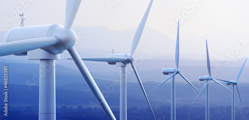Fotografia  Wind Turbines with distant mountains