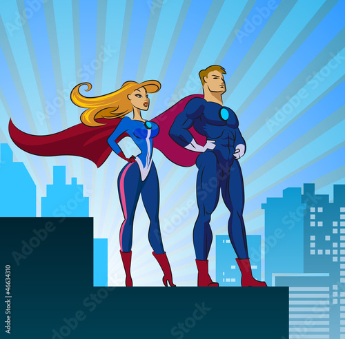 Door stickers Superheroes Super Heroes - Male and Female