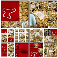 Panel Szklany Do jubilera Collage - Gold jewels