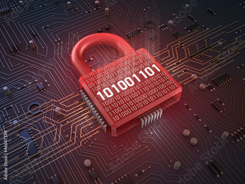 Firewall lock on mainboard , concept background Canvas Print