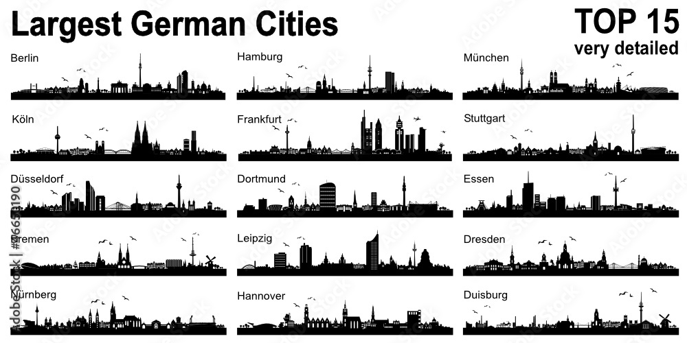 Fototapety, obrazy: Set Skylines - 15 largest german cities