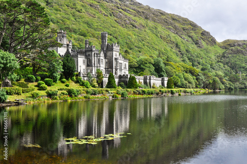 Kylemore Abbey in Connemara mountains, Ireland Canvas Print