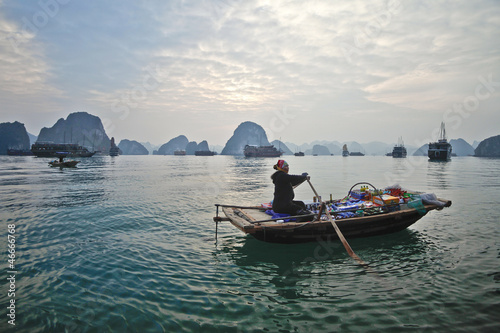 Fotografie, Obraz  Paddle boat in Halong Bay, Vietnam.